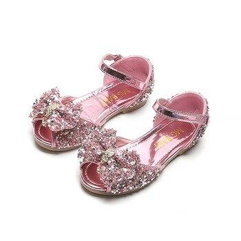 Pink Sky blue Silver Summer Girls Shoes Children Sequin crystal princess Kids Sandals Grils Sandal 3 4 5 6 7 8 9 10 11-12T