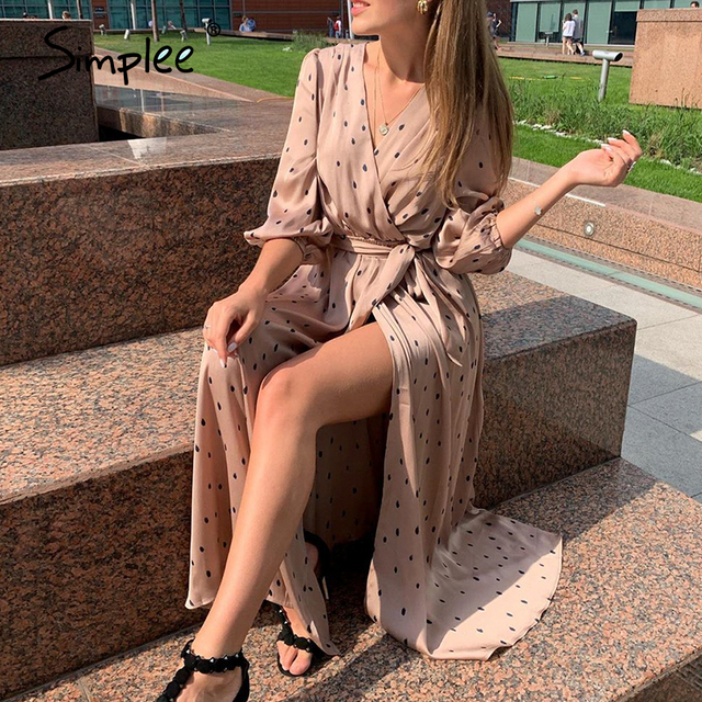 Simplee Polka dot women wrap dress Elegant puff sleeve a line v neck sash party dress Wrap work wear streetwear retro maxi dress 2
