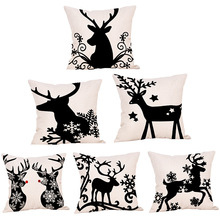 45*45cm Christmas Elk Cushion Cover Decorations for Home Ornaments Decoration 2019