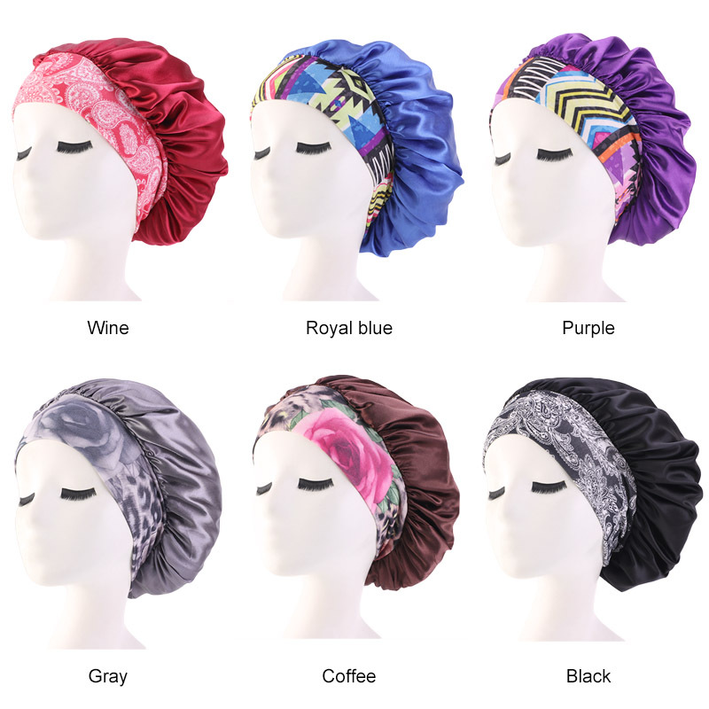 Women Satin Sleeping Hat Bonnet Hair Care Wide-brimmed Elastic Band Chemo Cap Casual Floral Print Lady Night Sleeping Cap Cover