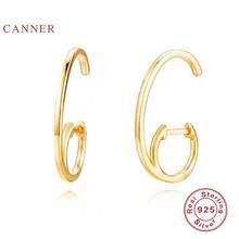 CANNER-Pendientes De aro De zirconia 100% Plata De Ley 925, joyería De oro De mujeres, Aretes Coreanos