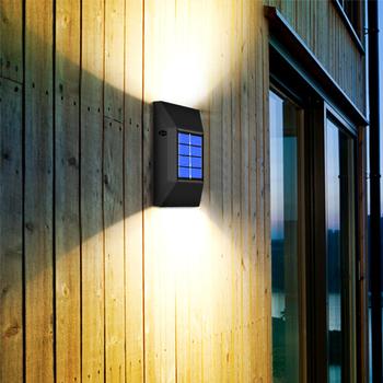 6led oswietlenie ogrodu słonecznego dekoracja potężna zewnętrzna wodoodporna ściana lampa zasilana energią słoneczną światło słoneczne światła uliczne lampy bezpieczeństwa krok tanie i dobre opinie abay CN (pochodzenie) ROHS Nikiel szczotkowany MYA0033solar wall light Solar lamp outdoor LED IP65 5 5 V Lampy ścienne