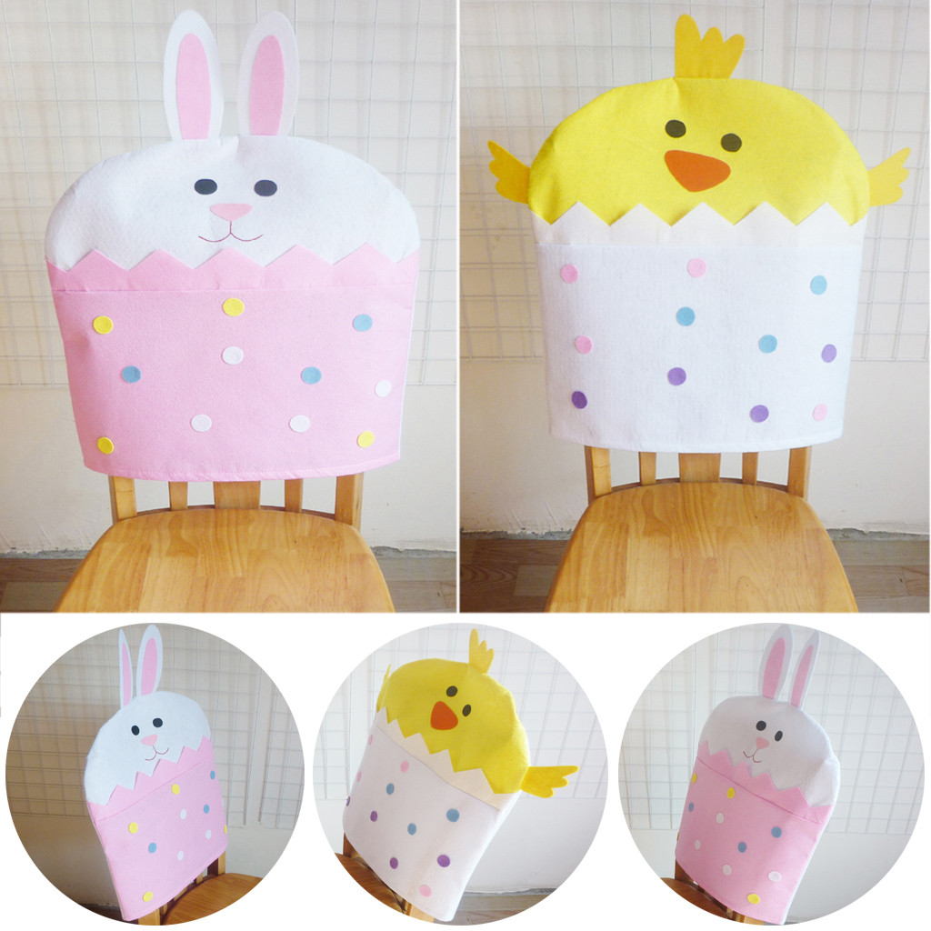 Easter Bunny Back Chair Covers Dinning Felt Cloth Chair Cover For Home Hotel