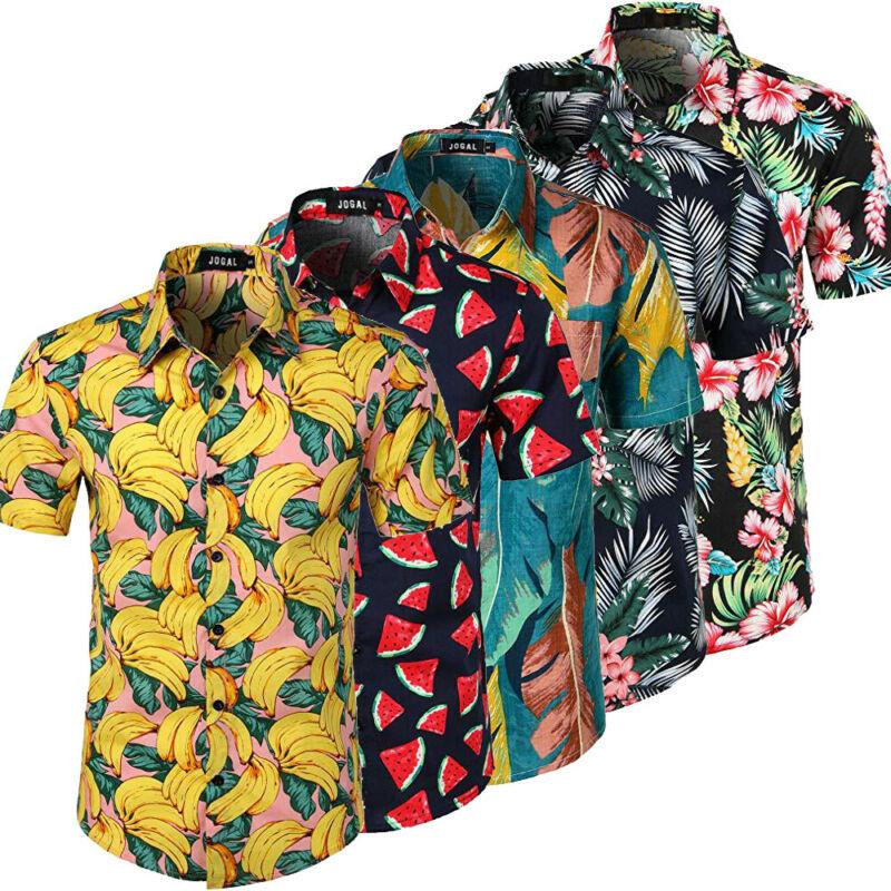 Fashion Men Hawaiian Shirt Tops Summer Fruit Floral Printed Beach Short Sleeve Camp Shirt Tops Blouse Casual Clothes