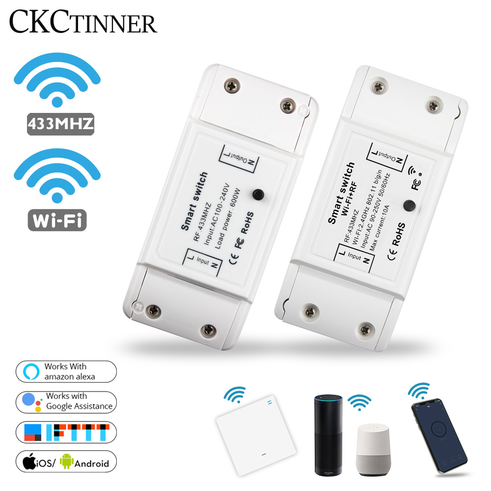 Smart Light Switch Wireless Remote DIY WiFi RF 433Mhz Smart Switch Work With Alexa Google Smart Home Universal Breaker Timer APP