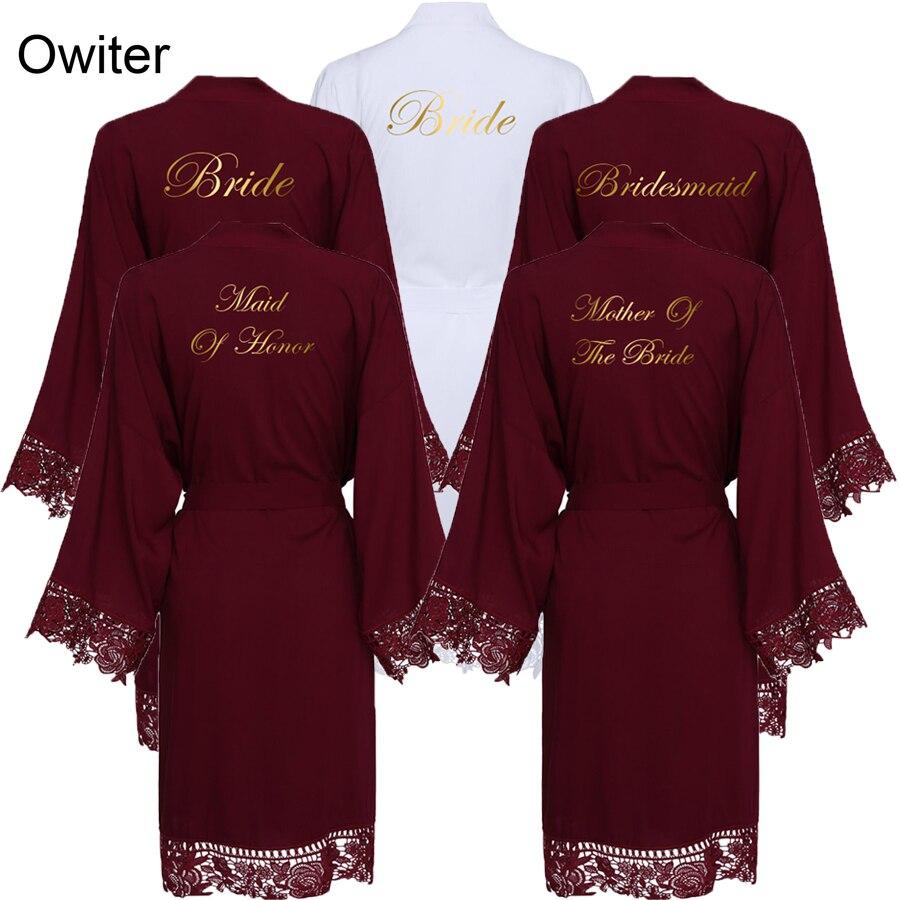 Owiter 2019 Burgundy Solid Cotton Kimono Bride Bridesmaid Robes W/ Lace Trim Women Wedding Bridal Bathrobe Sleepwear White Print