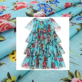 Exquisite printing parent-child digital printing fabrics classic flower women's fabrics children's pattern customization