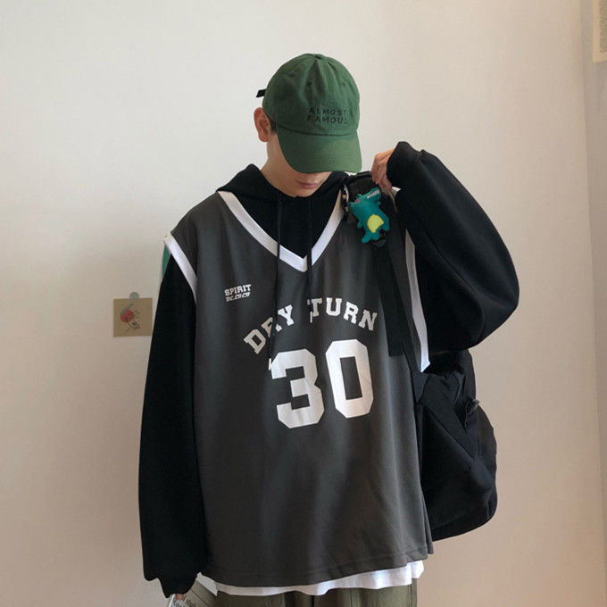 Fall 2019 Fake Two-piece Men's Loose Trend Hooded Fall/winter Hoodie