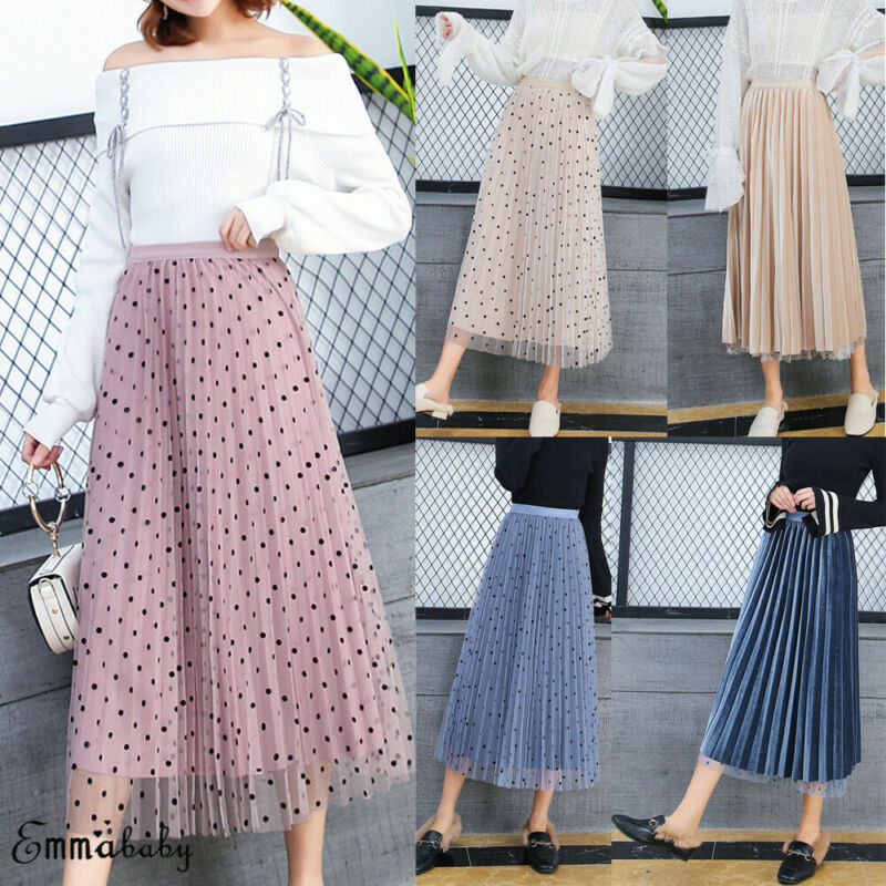 Women High Waist Spotted Mesh Tutu Skirt Sheer Velvet Pleated Long Party Tulle A Line Skirt