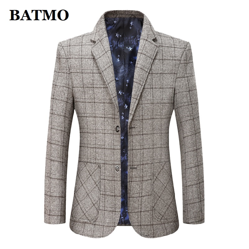 BATMO 2019 New Arrival High Quality Casual Plaid Blazer Men,men's Casual Plaid Jackets,2001