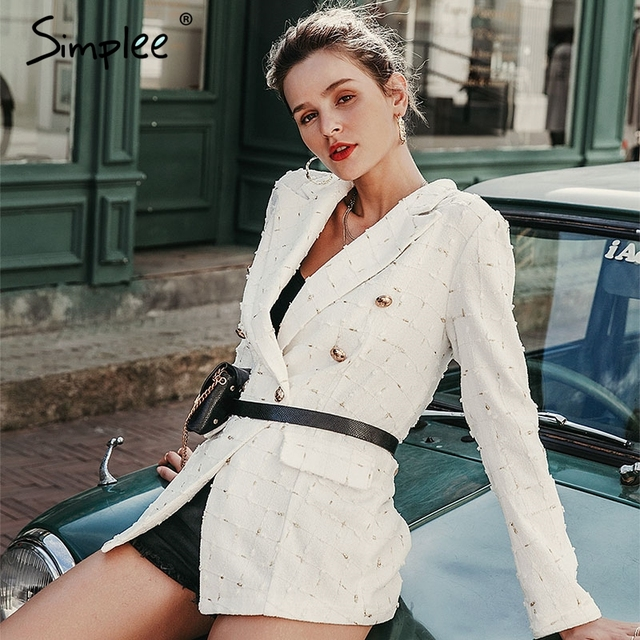 Simplee Chic white plaid women blazer Autumn double breasted office ladies lattice suit outerwear Casual work female blazer coat