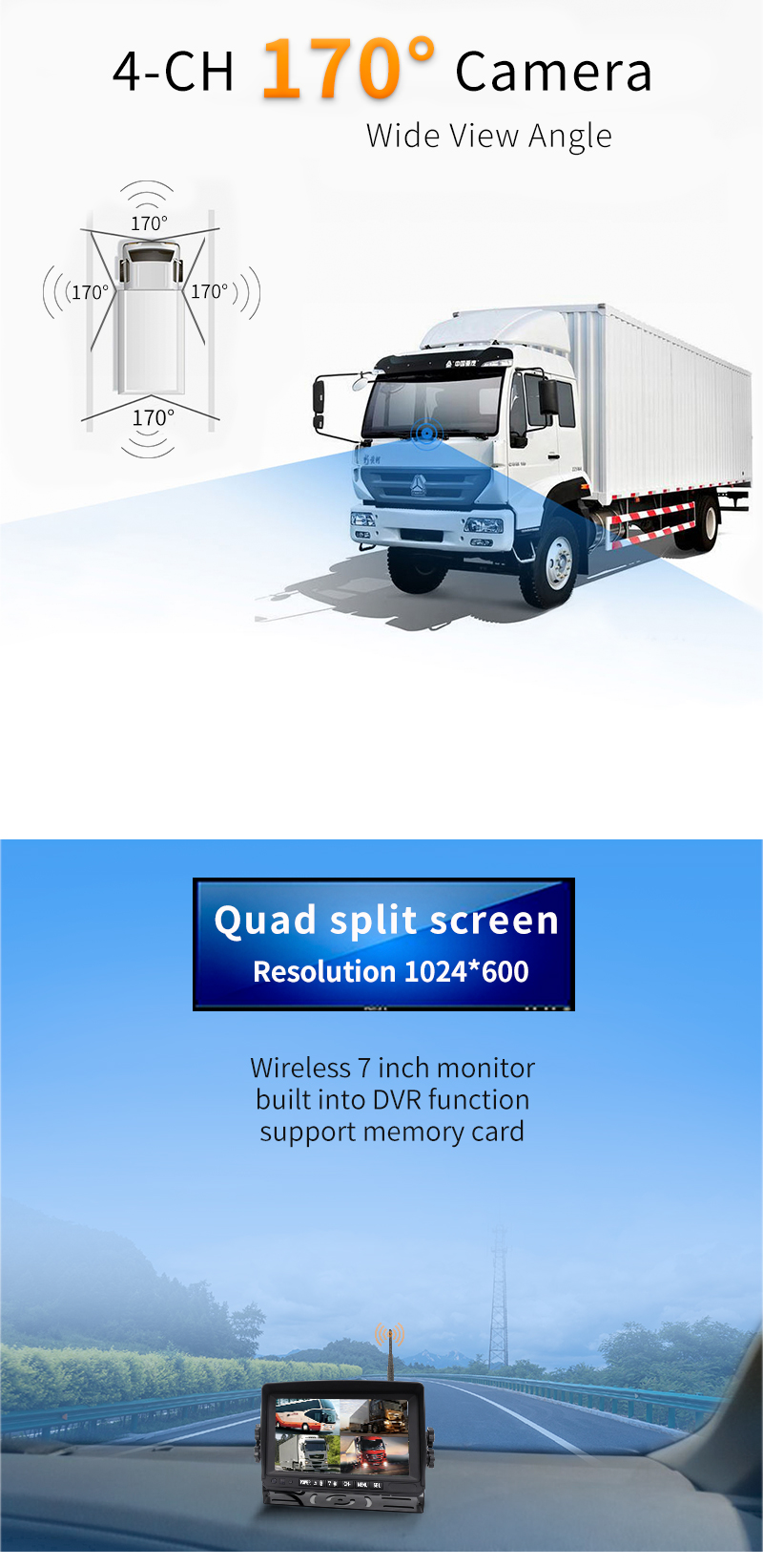 Wireless Rv Truck Trailer Bus Forklift 4 Channel Video Record 7 Inch Monitor Infrared Reverse Backup Quad View Camera System 21