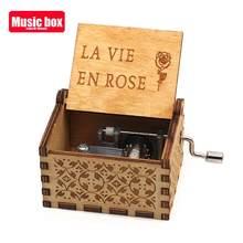 Caja de música de mano de madera La Vie En Rose, temática you are my sunshine, festival, regalo de Año Nuevo