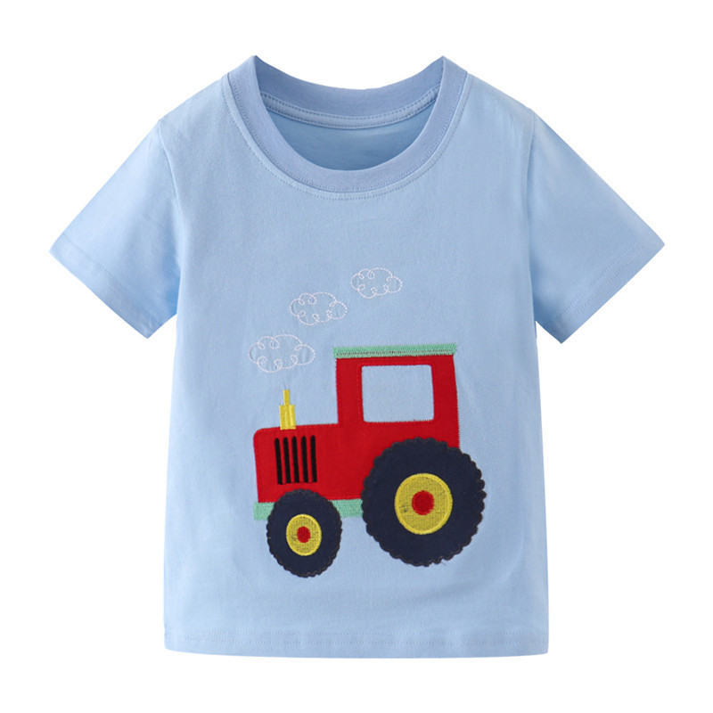 Jumping Meters New Boys Cotton Tops for Summer Children Clothes Hot Selling Stripe Applique tractor Kids T shirts 7
