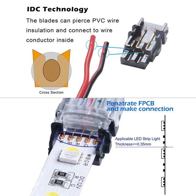 5 sztuk/partia 2pin 3pin 4pin 5pin taśmy LED złącze dla pojedynczego RGB RGBW kolor 3528 5050 taśmy LED do połączenia drutu używać terminali