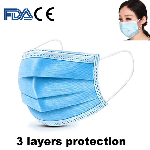3 Layers Disposable Face Masks Dustproof Protective Cover Bacteria Proof Flu Face Mask Elastic Ear Loop Dust Filter Safe Mask