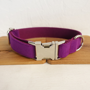 Solid Design Custom Dog Collar 5 sizes special self-design Engraved metal buckle retailing THE CANDY PURPLE UDC029 image