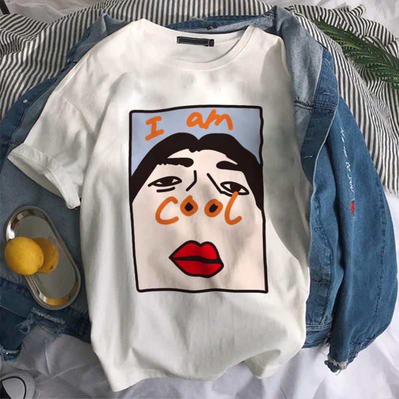 New Women's Clothing I Am Cool Font Print Harajuku Funny Vintage Vogue Streetwear Tracksuit Personality I Am Free Female T-shirt