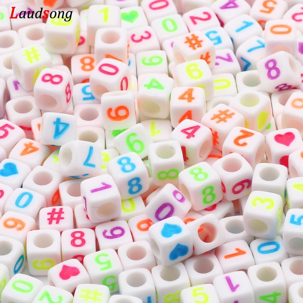 100-500 adet kare renkli karışık sayı kalp mektubu akrilik boncuk takı yapımı için el yapımı Diy bilezik kolye 6mm