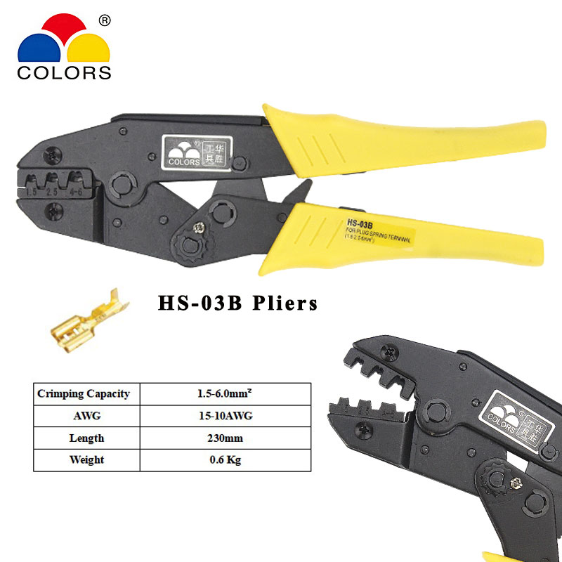 <font><b>HS</b></font>-<font><b>03B</b></font> wire crimping pliers capacity 1.5-6mm2 15-10AWG for non-insulated tabs and receptacles self-adjusting hand tools set image