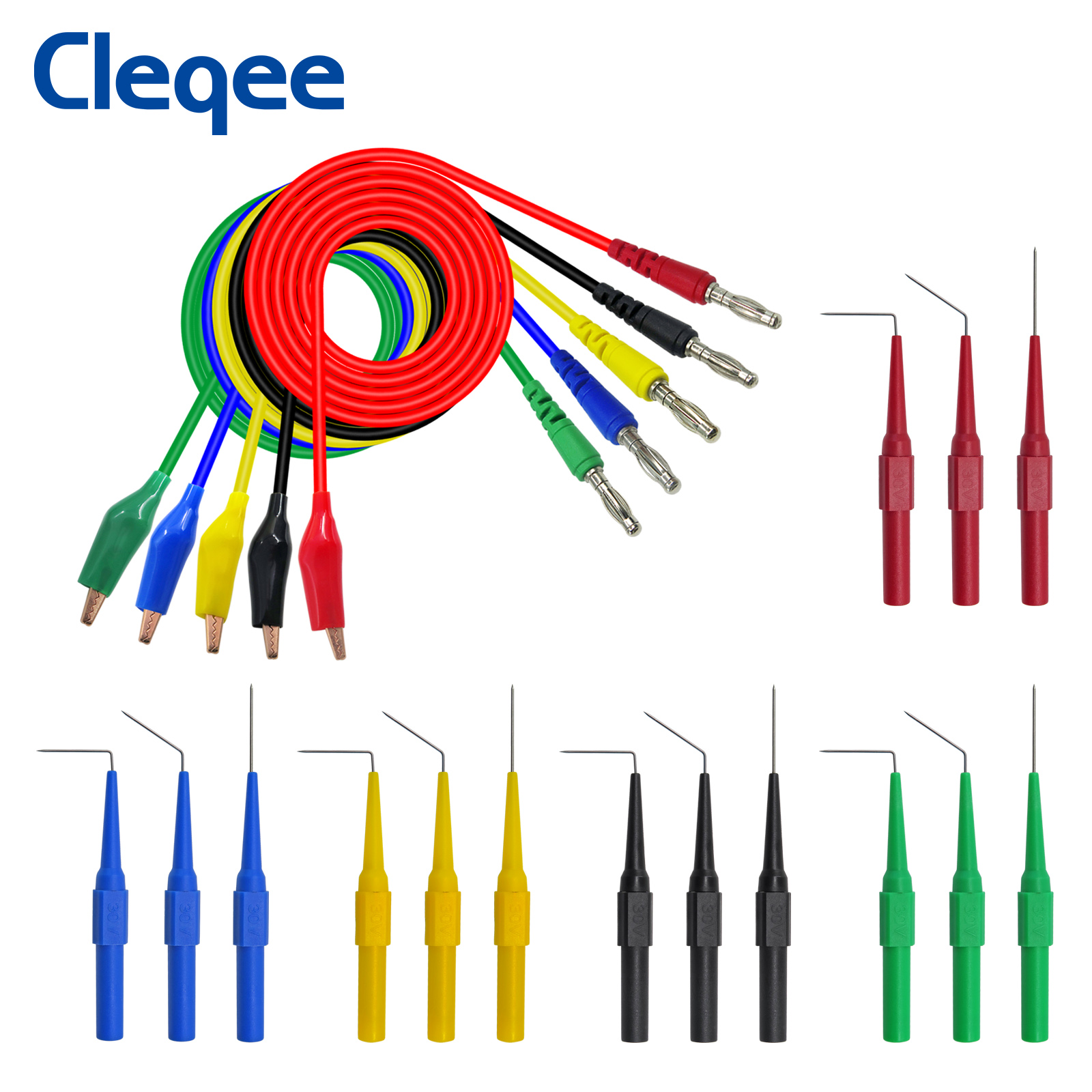 Cleqee P1920 Alligator clip to Banana plug test lead test probe connect to 4mm banana plug for electrical back probe kit