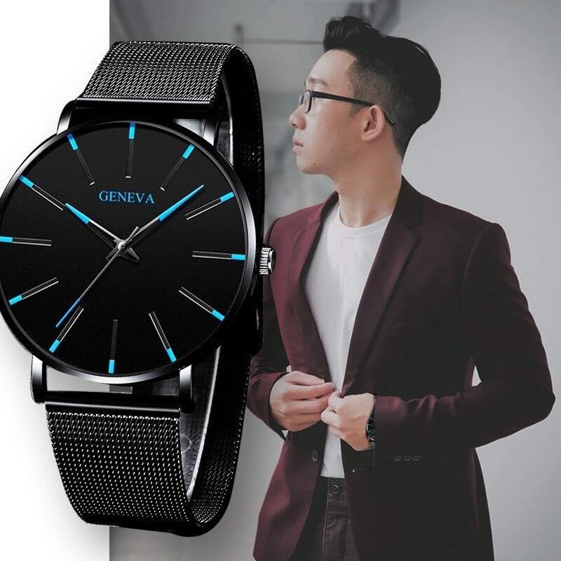 Geneva Ultra Thin Mens Watches Blue Pointer Leisure Quartz WristWatch Stainless Mesh Strap Dial Clock Gift Relogio Masculino