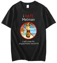 Eu odeio melman tshirt streetwear harajuku t camisa masculina verão preto manga curta oversized camiseta de algodão moda topos t