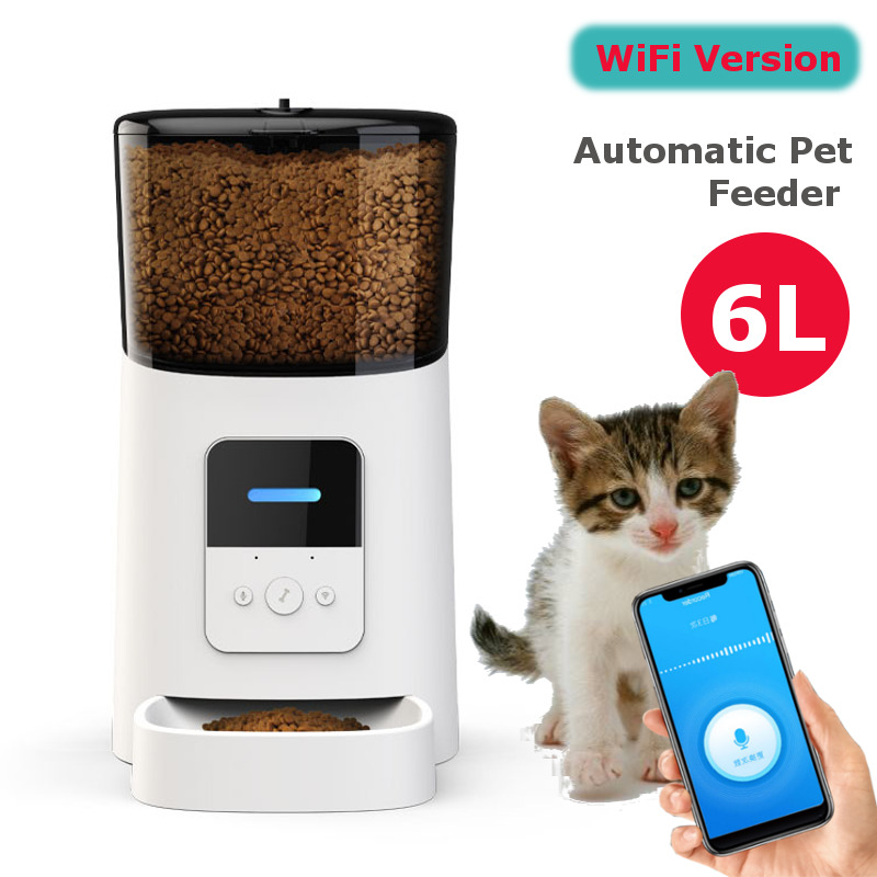 6L Large Capacity Wifi Automatic Intelligent Pet Feeder for Cats Dogs Smart Food Dispenser Remote Control APP Timer Pet Feeding