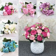 1 букет с 9 головками, искусственные пионы, Чайные розы, Камелия, Шелковый искусственный цветок, Флорес для украшения дома, сада, свадьбы