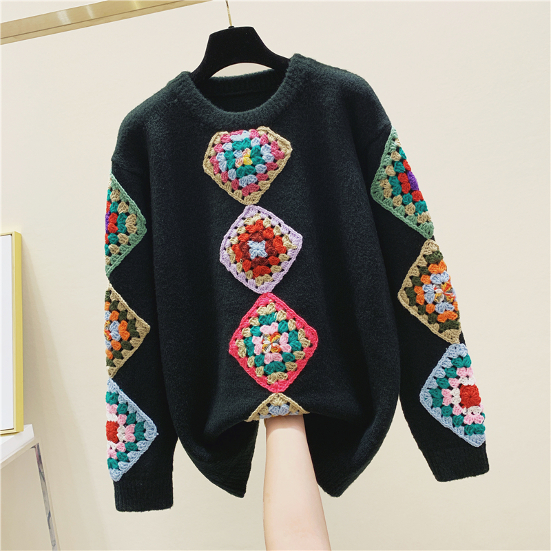 Three-dimensional Flower Handmade Crochet Knit Sweater Women's 2020 New Spring Winter Ethnic-Style Sweaters Sweater Femme