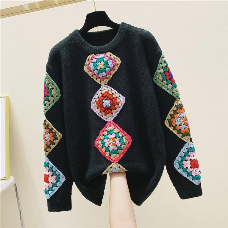 Three-dimensional Flower Handmade Crochet Knit Sweater Women's 2020 New Spring Winter Ethnic-Style Sweaters Sweater Femme