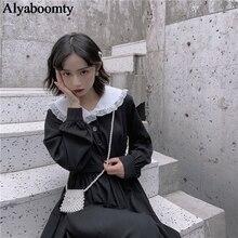 Japanese Harajuku Women Black Maxi Long Dress Peter Pan Collar Vintage Lolita Style Vestidos Longo Full Sleeve Cute Kawaii Dress
