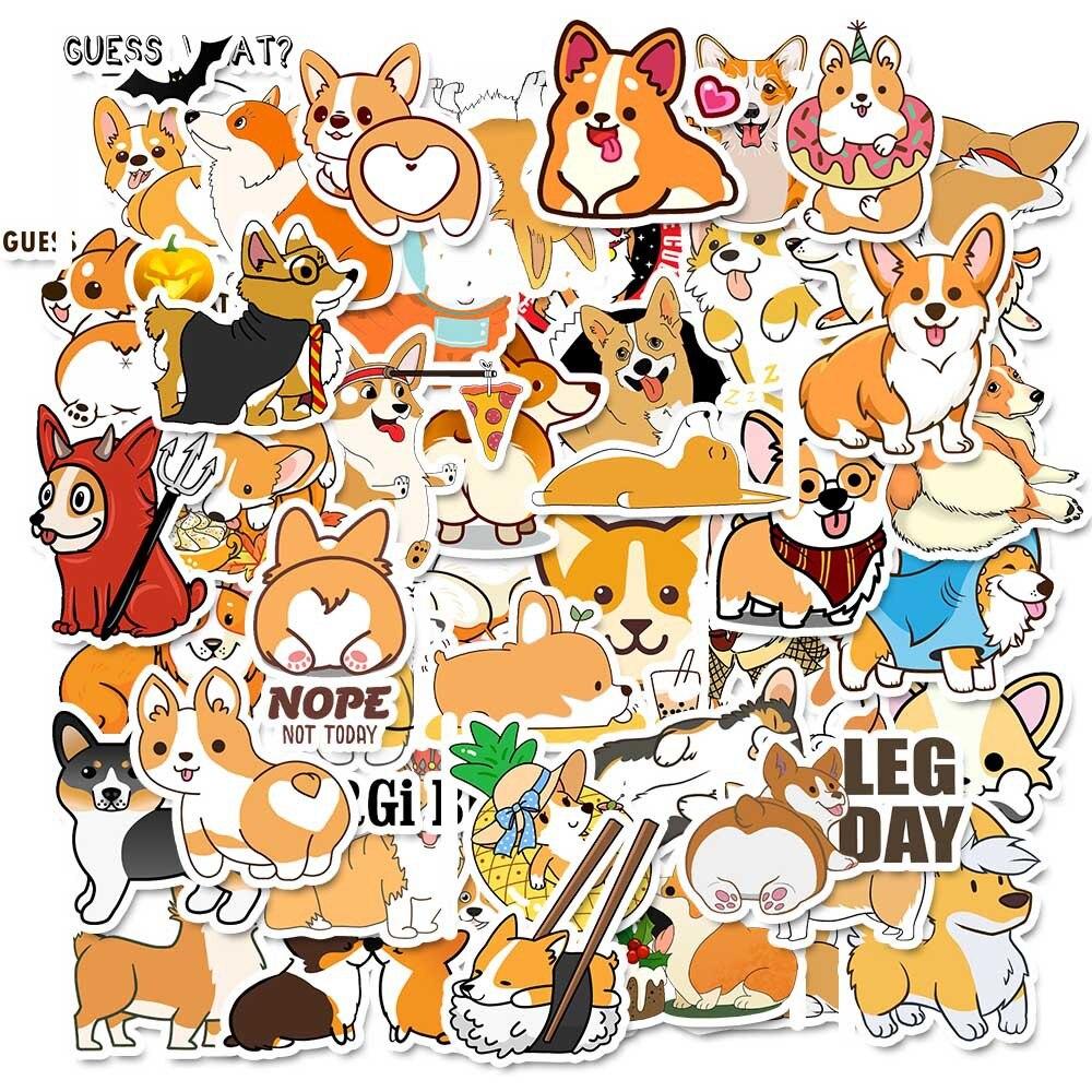 Kawaii Korgi Dog Pet Waterproof Bullet Journal Decorative Stationery Stickers Scrapbooking DIY Stickers Diary Album Stick Lable