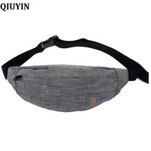 QIUYIN New Men Casual Waist Pack Bag Brand Canvas Shoulder Fanny Packs Women Belt Pouch For Money Phone Black Bum Hip