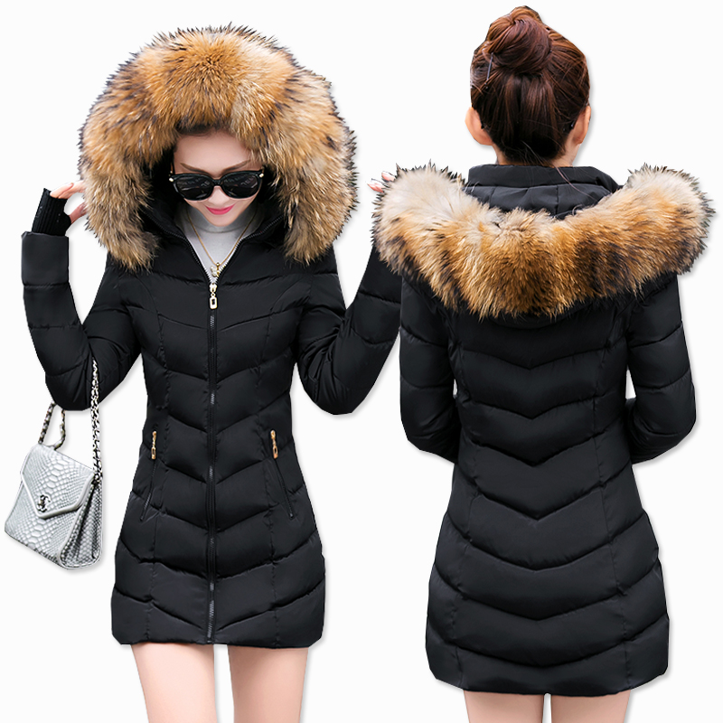 Long Jacket Parka Hooded-Coat Outerwear Fur-Collar Thicken Plus-Size Ladies Warm Detachable-Hat