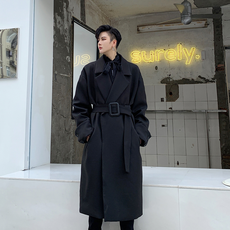 Men Vintage Fashion Loose Long Trench Jacket Male Streetwear Hip Hop Gothic Casual Black Windbreaker Overcoat Trench Coat