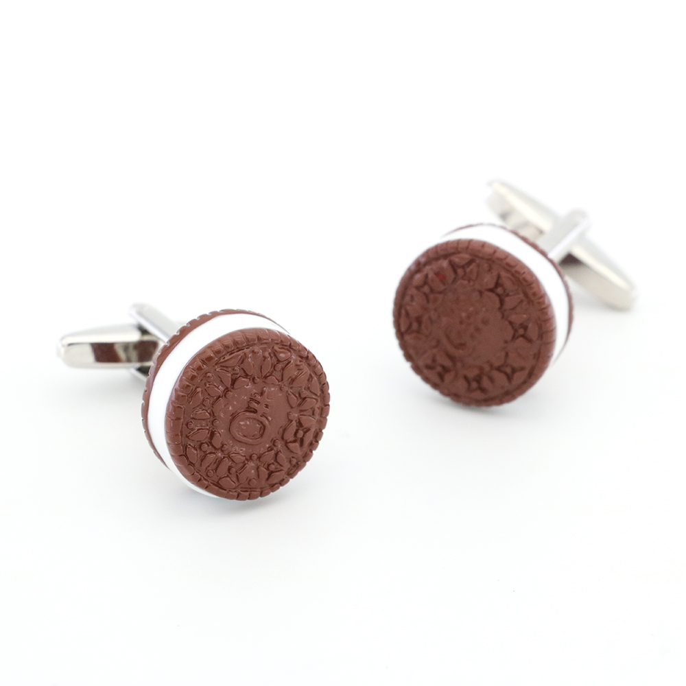 Biscuit Cuff Links For Men Cream Cookies Design Quality Brass Material Coffee Color Cufflinks Wholesale&retail