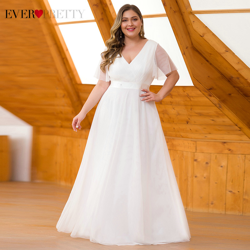 Plus Size White Wedding Dresses Ever Pretty A-Line Short Sleeve Ruched Zipper Tulle Elegant Bride Wedding Gowns Vestido 2020