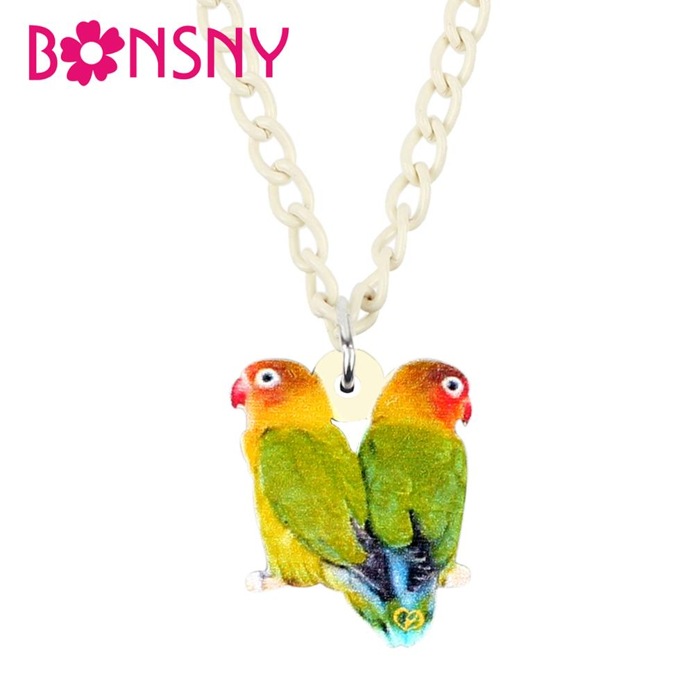 Bonsny Acrylic Double Masked Love Bird Necklace Pendant sweet Birds Animal Jewelry Women Girl Teen Charms Gift 2019 New Fashion image