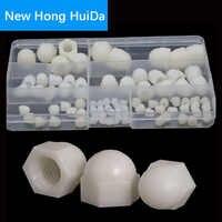 White Nylon Acorn Nut Metric Thread Plastic Decorative Cover Semicircle Cap Nut M3 M4 M5 M6 M8 M10 M12