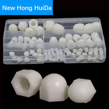 White Nylon Acorn Nut Metric Thread Plastic Decorative Cover Semicircle Cap Nut M3 M4 M5 M6 M8 M10 M12
