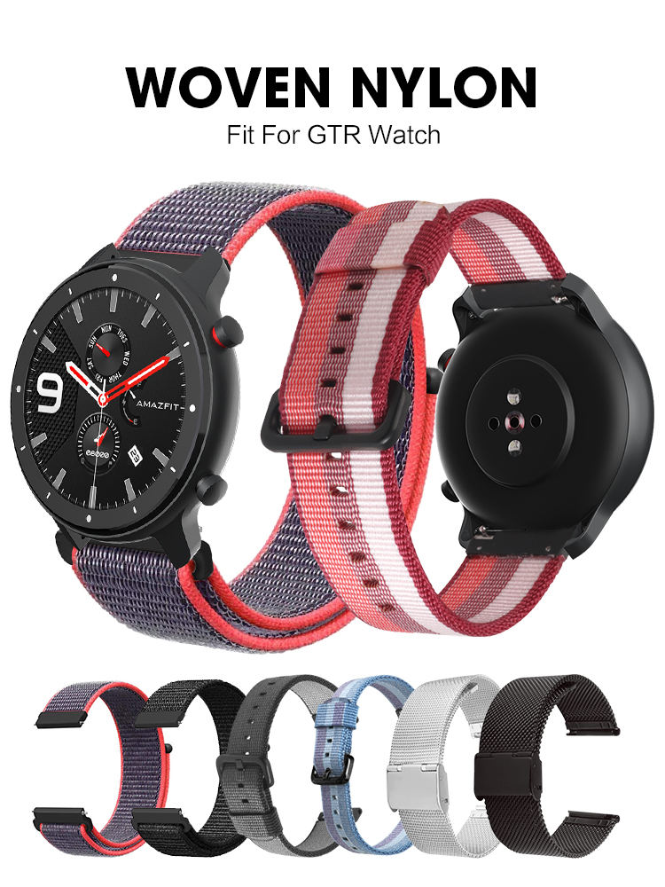 For Amazfit GTR 42mm 47mm  Smart Watch Nylon Woven Silicone Strap Replace Band Bracelet 20 22mm