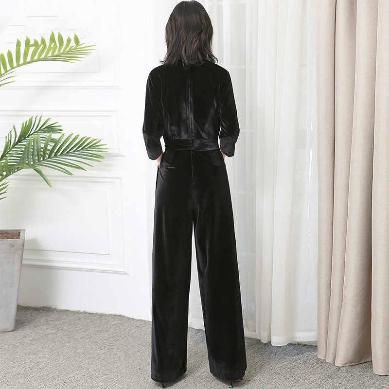 Wiosna jesień kombinezon kombinezony dla kobiet ubrania 2020 koreański Vintage Loose Playsuit długie kombinezony Macacao Feminino ZT4789
