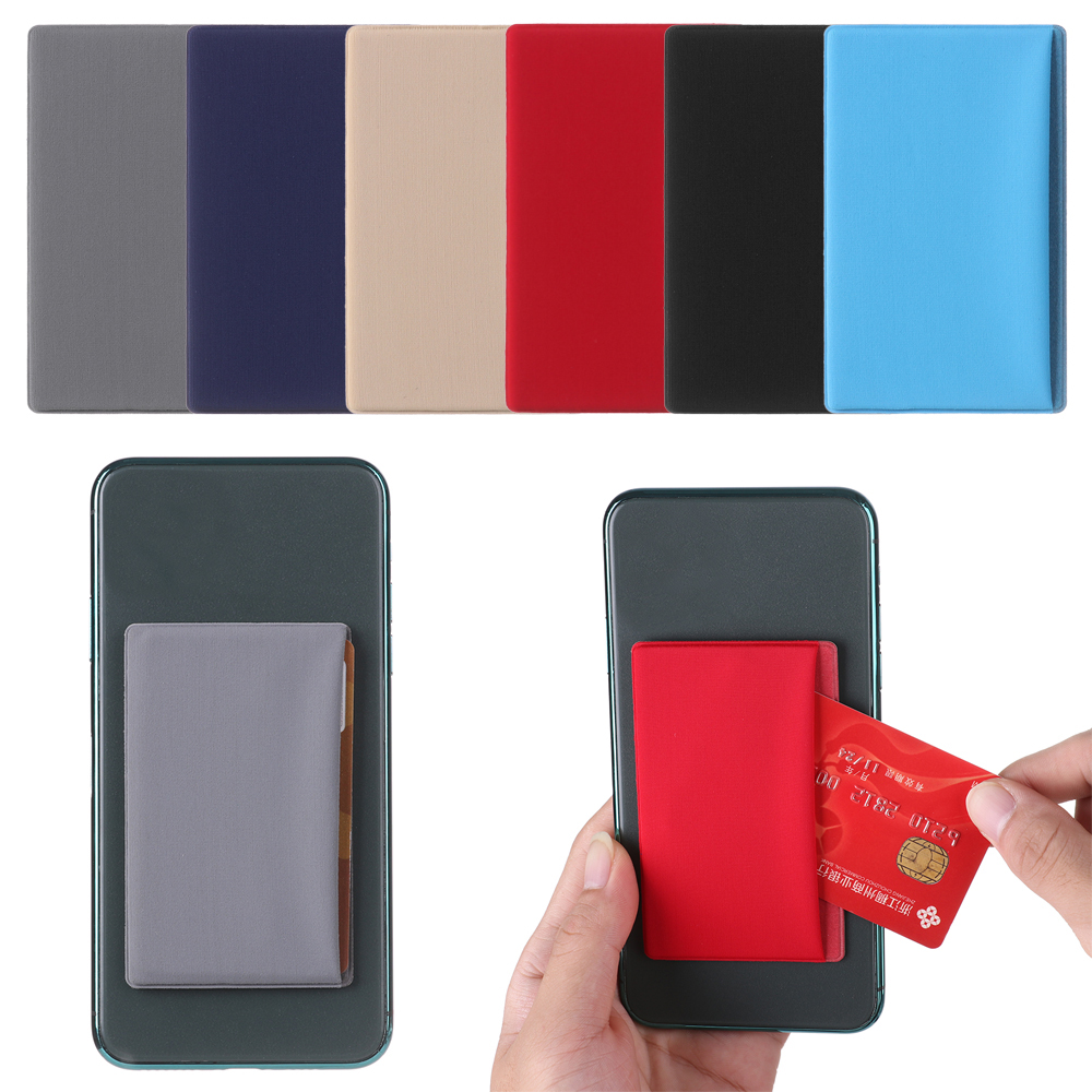 1pc Self-Adhesive Cell Phone ID Credit Card Holder Unisex Elastic Stretch  Women Men Lycra Sticker Pocket Wallet Case CardCover