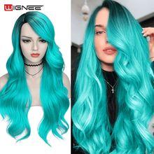 Wignee 2 тона синтетический парик Омбре длинные синие волнистые волосы термостойкие для женщин боковая часть косплей вечерние НКА парики из на...