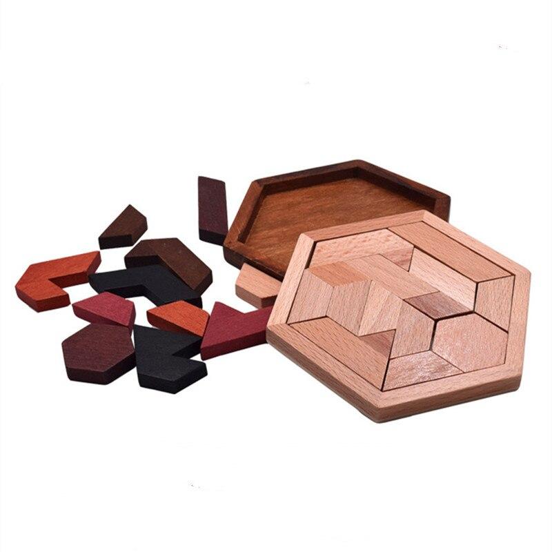 Quebra-cabeça de madeira formato geométrico, brinquedo educacional