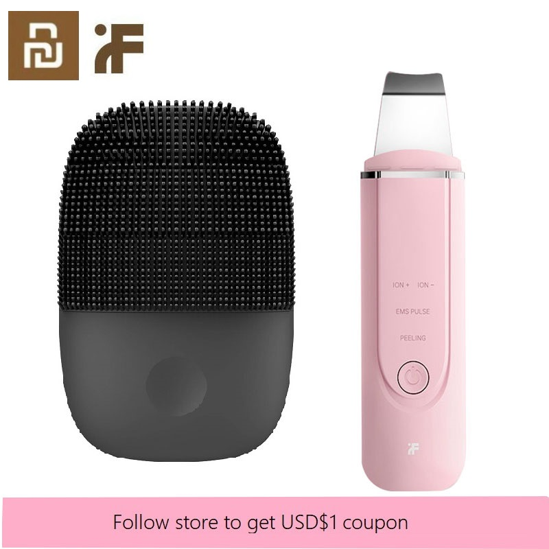 Youpin InFace Upgrade Version Facial Cleanser Sonic Deep Face Cleansing Brush & Ultrasonic Ion Skin Scrubber Face Massager