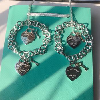 Pulsera con llavero y corazón de amor clásico para mujer, joyería de plata fina S925 Original con logotipo de marca de lujo, regalo exquisito a la moda
