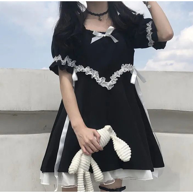 Japanese Summer Kawaii Soft Girly Dress Vintage Square Collar Cute Lace Lace Up Bow Sweety Ruffles Puff Sleeve Dress Black Dress 1