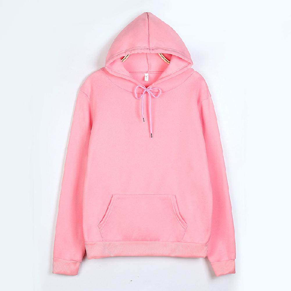Women/Men's Sweatshirt Autumn Solid Color Long Sleeve Hoodie Pocket Drawstring Loose Sweatshirt Warm Pocket Oversize Pullovers 1